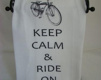 Retro Bicycle Tea Towel - Keep Calm & Ride On - Kitchen towel - Flour sack towel