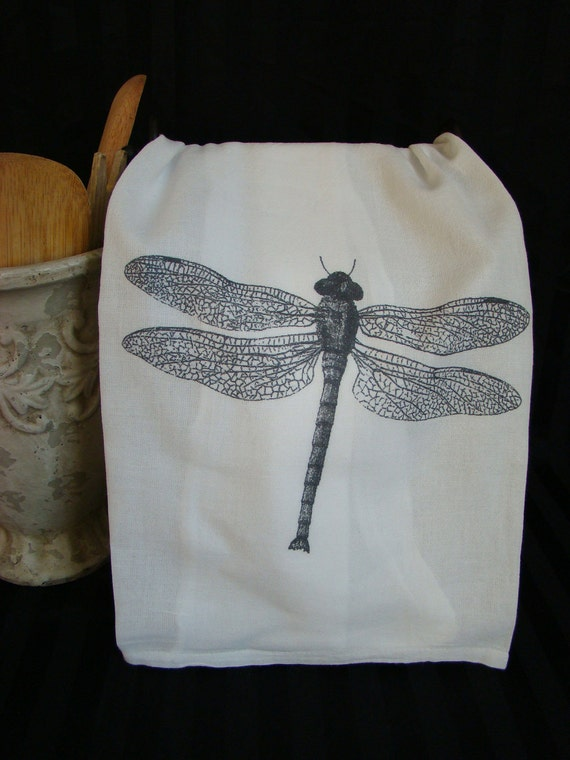 Dragonfly Tea Towel -Black and White - Flour Sack towel