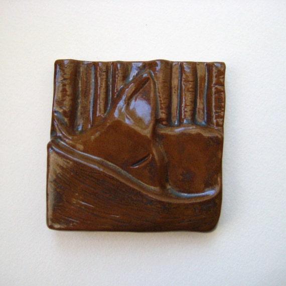 Sleeping Fox Tile 4x4 - Brown Fox Tail Woodland Creature Ceramic Tile
