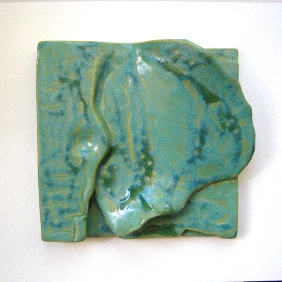 Elephant Ear Tile, Ceramic Elephant Art, DISCOUNTED