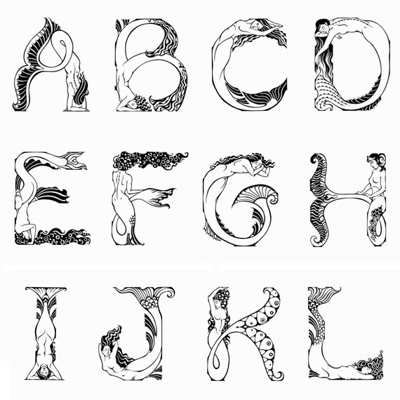 One Line Letter Art : Mermaid alphabet