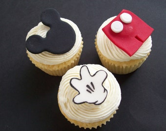 Mickey Mouse Fondant Cupcake Toppers - ONE DOZEN