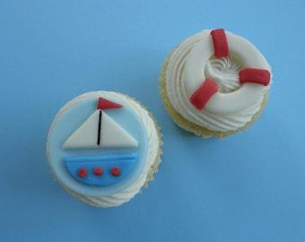 Sailboat Nautical Fondant Cupcake Toppers