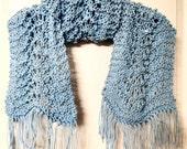 Lacy hand knitted Light Blue Feather and Fan scarf