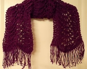 Lacy hand knitted Dark Orchid  Feather and Fan scarf