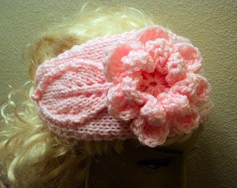 Hand Knit soft Acrylic Large Flower and Leaf Baby Pink Button Back Headband - Headwrap