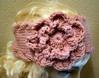 Hand Knit soft Acrylic Rosy Cheeks Mauve Cable Edged with Large Flower Button Back Headband - Headwrap