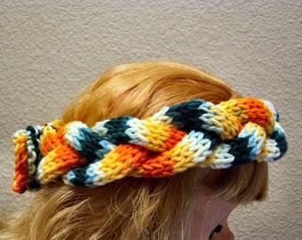Hand Knit Toddler to Tween Button Back Braided soft Cotton Sunburst Medley Button Back Headband
