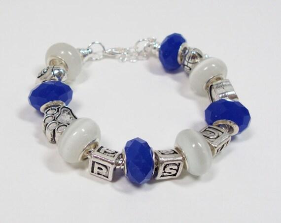 pandora style bracelet penn state nittany lions blue and