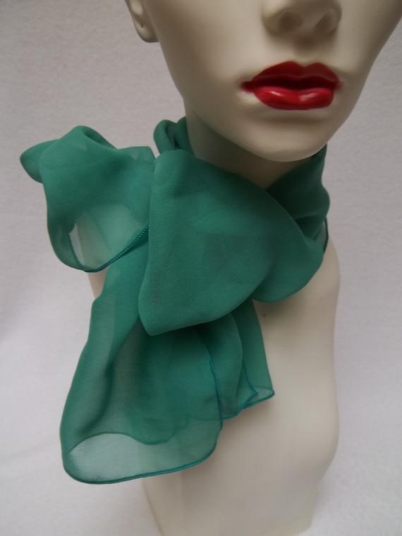 scarf emerald silk chiffon neck scarf accessory by ninisniche