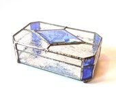 Blue and Ice Glass Jewelry Box with Mirror