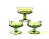 Indiana Green Kings Crown Glass Sherbet Champagne Glasses - Set of 3