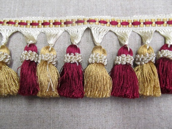 Tassel Fringe 3 inch in red gold and ivory