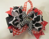Hair bow, Cowgirl, Western, Bandana, Red, Black, Checkers, Country, Western, Cowl, Frilly Fillies Handmade Accessories by Curly Q's Bowtique