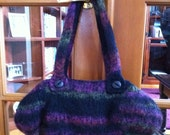 Felted Handbag in Black and Shades of Raspberry and Green Large Enough for All Your Needs
