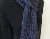 Dark charcoal scarf--merino silk blend--EC