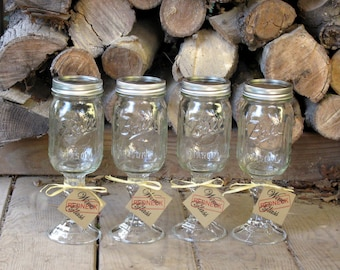 Mason Jar Redneck Wine Glasses Set of Four - Hillbilly Approved - Fun Gift