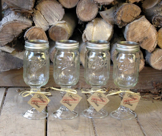 Items Similar To Mason Jar Redneck Wine Glasses Set Of