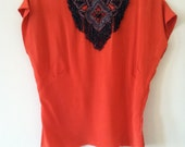 RESERVED for retasroses Crimson Beaded Blouse