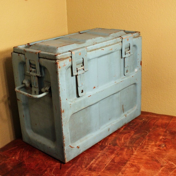 Awesome Light Blue Ammo Box Container By Outtamyshed On Etsy
