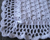 White Lace and Satin Ribbon Baby Afghan - READY TO SHIP
