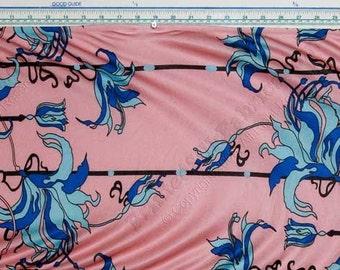 Graphic Designer Knit Jersey Silk Fabric - Morgandy - SIC/101-J