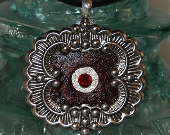 Rusty Washer and Shiny Ornate Filigree Industrial Altered Art necklace