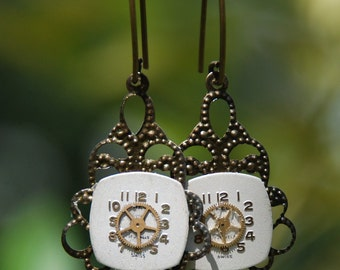 Steampunk Earrings Delicate Filigree Setting
