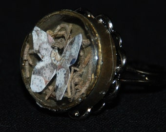 25% off SALE see welcome page for details Steampunk Butterfly Shadowbox Ring R 41