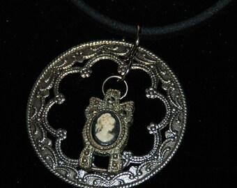 Steampunk Ornate Filigree Necklace Elegant Cameo Pendant