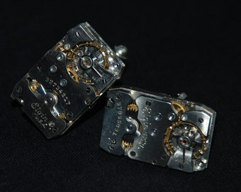 Beautiful Pair of Elgin Segmented Steampunk Watch Movement Cuff links
