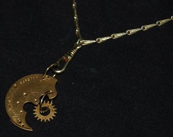 Steampunk  Pocket Watch Plate Necklace Pendant with Gear N26