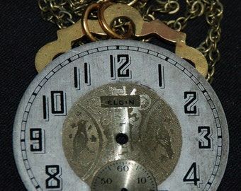 Steampunk Vintage Metal Watch Face Necklace Mixed Media Love Bird  Pendant N41