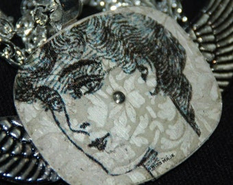 Winged Mixed Media Necklace Vintage watch Face Pendant N80