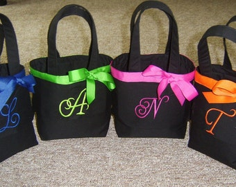 4 Personalized Bridesmaid/Flowergirl Totes