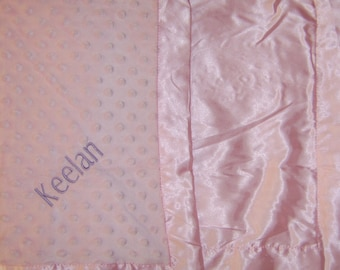 Personalized Pink Minky Baby blanket 30x40