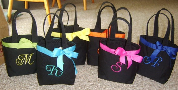 6 Personalized Bridesmaid/Flowergirl tote bags