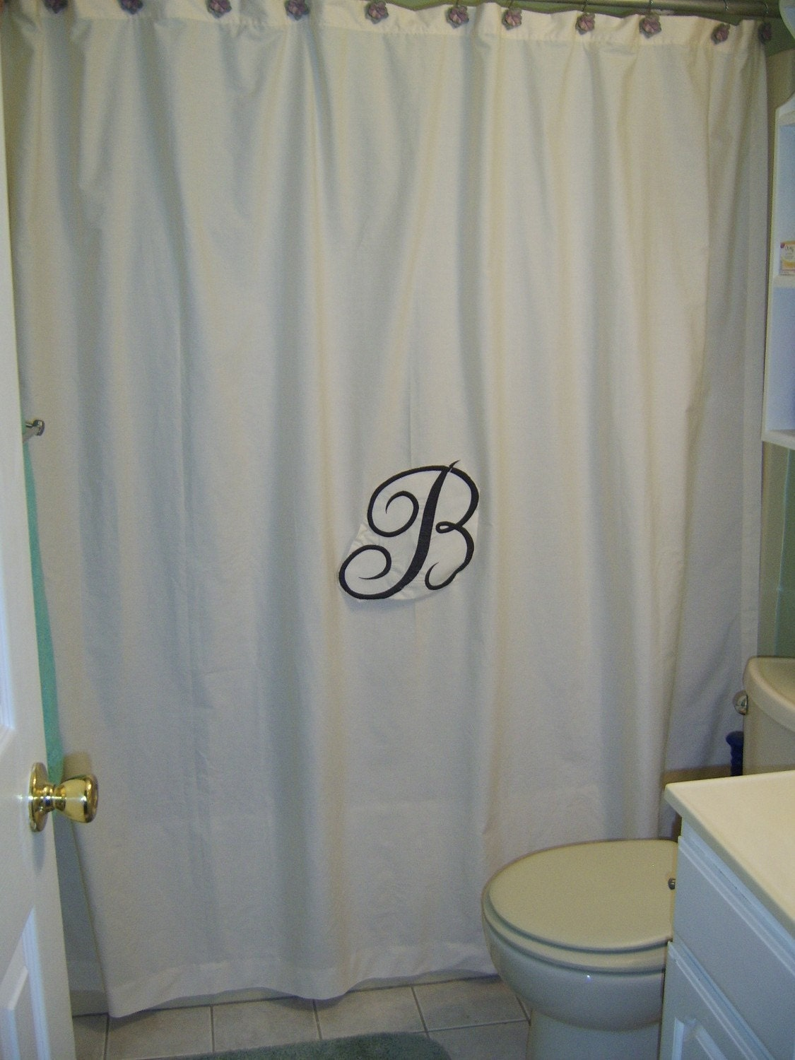 Personalized Embroidered Shower Curtain Avaliable In White Or
