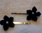 2- black flower bobby pins