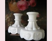 Vintage Milk Glass Candle Holders by Westmoreland