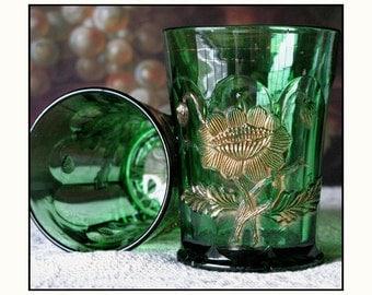 Northwood Emerald Green Tumblers /  Early American Pressed Glass / EAPG / Green Carnival Glass