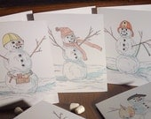 Holiday Winter Greeting Cards, 6 Snowmen, 4.25x5.5