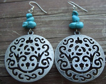 Turquoise and Metal Earrings