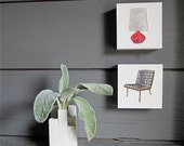 Mid Century Chair  Stitched Watercolor Painting Black Red Home Decor Set redtilestudio