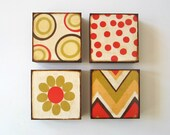 Art Block Four/4 Set 5x5 wood Mix and Match Personalize Custom Free Shipping colorful bright red green brown yellow redtilestudio