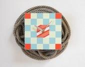 beach home decor- nautical clock- BUOY- decor for beach cottage- nautical flag design