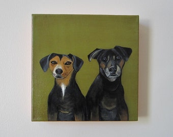 dog portrait, painting, pet portrait- duo- two pets- dog lover gift idea 8x8 or 12x12 custom pet portrait- dog painting -redtilestudio