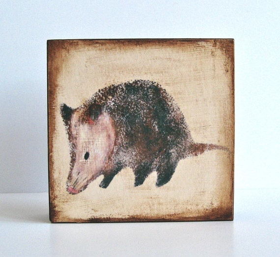 Woodland Home Decor l Possum l 5x5 art block on wood beige red tile studio