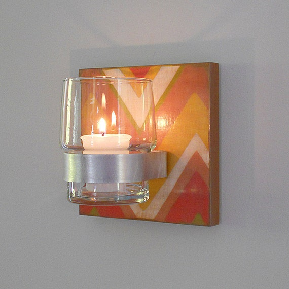 Wall Decor With Candle : Candle holder l modern wall decor chevron by redtilestudio