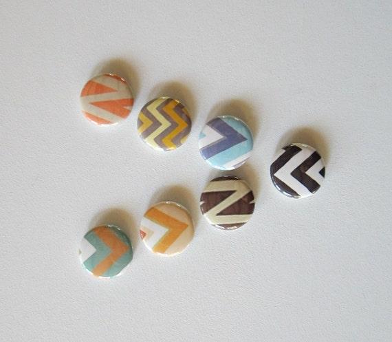 Magnets Chevrons Triangles Zig Zag 7/Seven 1 inch round green blue orange brown redtilestudio